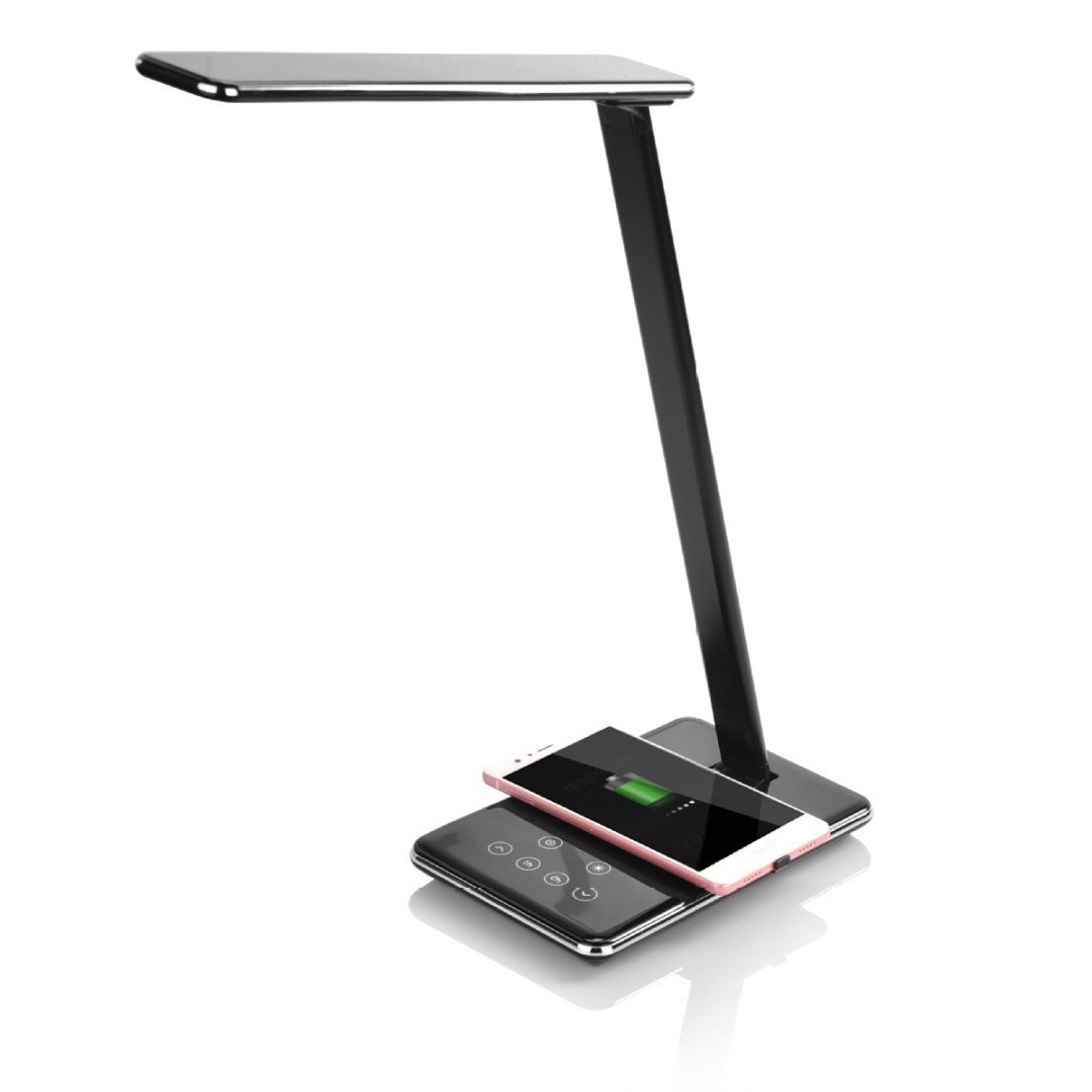54 LED Stalo šviestuvas 5W su QI belaidžiu įkrovikliu Media-Tech WIRELESS CHARGING LAMP MT221K, Juodos spalvos