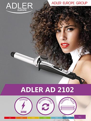 Hair curling iron Adler AD 2102 Ceramic heating system, Barrel diameter 25 mm, Number of heating levels 1, 30 W, Juodas/Sidabrinis