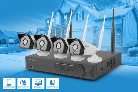 Lanberg 4 kanalų WIFI NVR + 4 1,3MP IP kameros ir Lanberg priedai