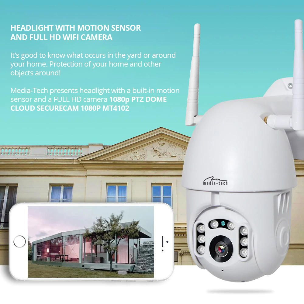 Media-Tech PTZ DOME CLOUD SECURCAM 1080P - Indoor/outdoor dome LAN/WIFI PAN/TILT camera, optical FULL HD resolution, nightvision with IR cut