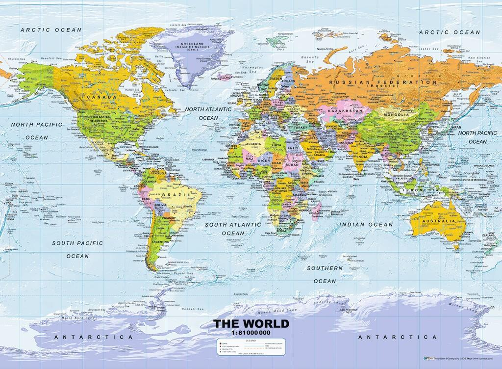 Map Of The World Map Of The World.Ravensburger Dėlionė World Map Political 500vnt 14755