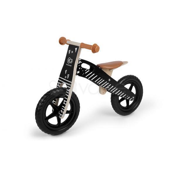 Kk Kinderkraft Kkrrunvblk00ac Runner Vintage Bicicletta Senza Pedali Legno Nero