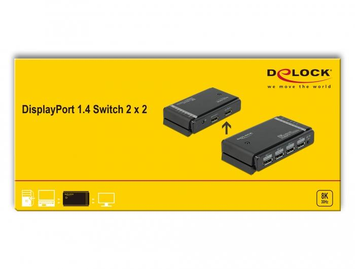 Delock DisplayPort 1.4 Switch 2 x 2 DisplayPort in zu 1 x 2 DisplayPort Out 8K