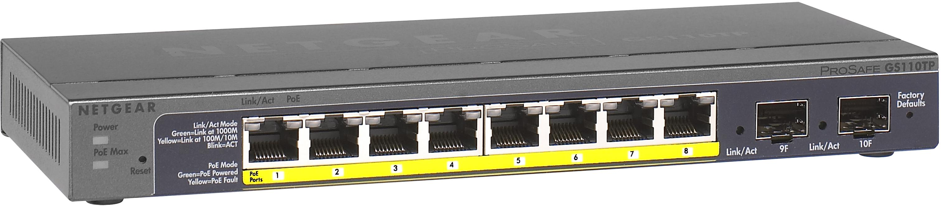 Akotuvas Netgear Prosafe Smart 10 Port Gigabit Switch 8xpoe 2xsfp Gs110tp V2