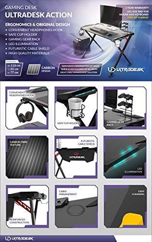 Scrivania Per Computer Design.Ultradesk Action Gaming Desk Scrivania Per Computer Con Led