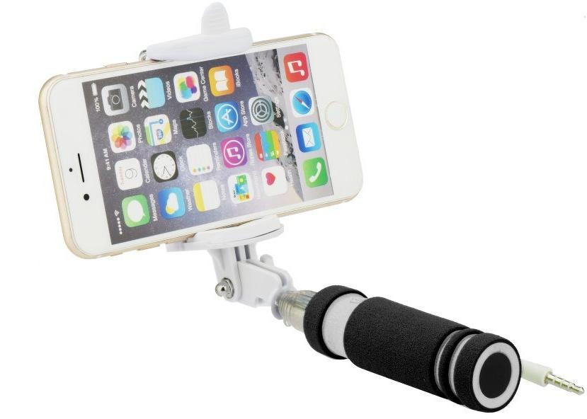 blun mini selfie stick with remote button and 3 5 mm cable juodas. Black Bedroom Furniture Sets. Home Design Ideas