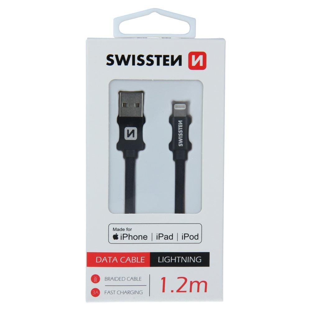 Swissten (MFI) Textile Fast Charge 3A Lightning (MD818ZM/A) Data and Charging Cable - Baterijos ir įkrovikliai (Telefonams, planšetėms)