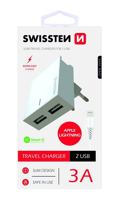 Swissten Premium Travel Charger USB 3А / 15W With Lightning (MD818) Cable 120 cm - USB kabeliai