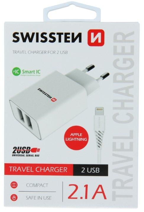 Swissten Smart IC Travel Charger 2x USB 2.1A with Lightning (MD818) Cable 1.2 m - USB kabeliai