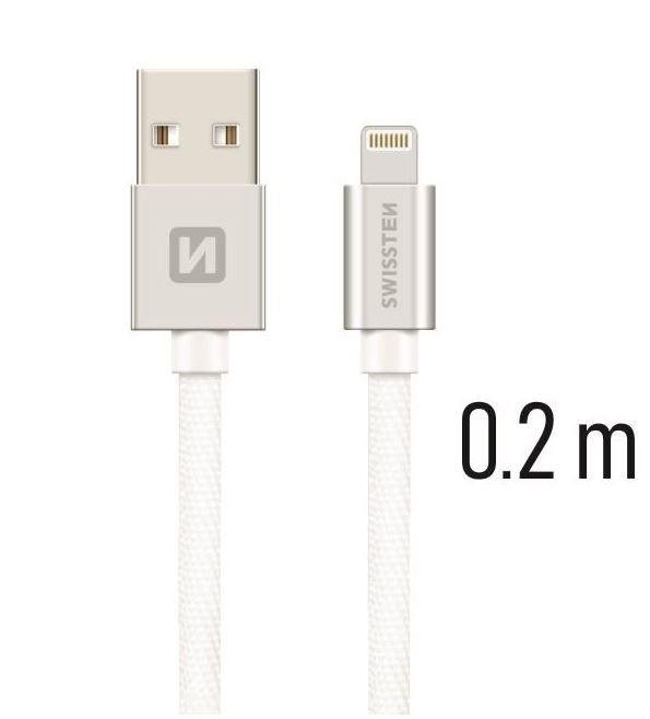 Swissten Textile Fast Charge 3A Lightning (MD818ZM/A) Data and Charging Cable 20 - Baterijos ir įkrovikliai (Telefonams, planšetėms)