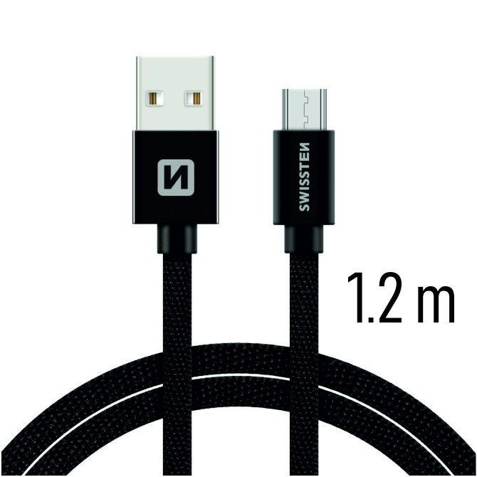 Swissten Textile Quick Charge Universal Micro USB Data and Charging Cable 1.2m Juodas - USB kabeliai
