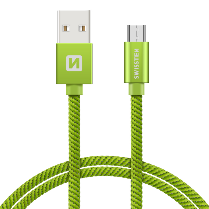 Swissten Textile Universal Micro USB Data and Charging Cable 2m Green - USB kabeliai