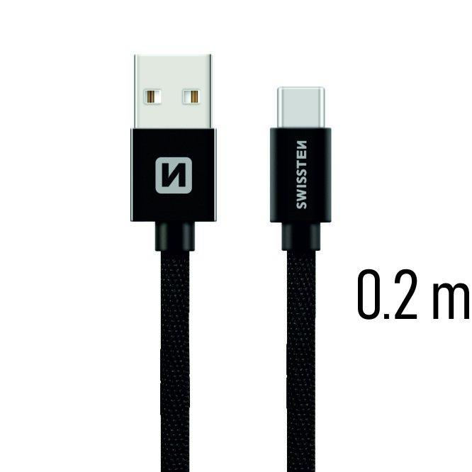 Swissten Textile Universal Quick Charge 3.1 USB-C Data and Charging Cable 20 cm - USB kabeliai