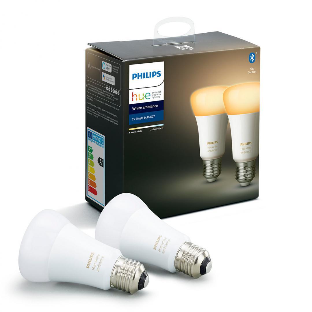 Lampadine Philips Led.Philips Hue Kit 2 Lampadine Led Classe Energetica A A D E27 19 W Bianco Caldo