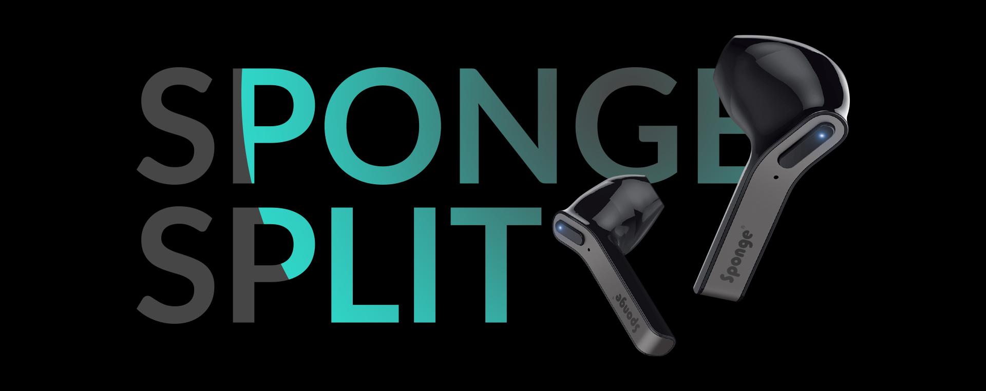 True Belaidės Ausinės Sponge Split TWS